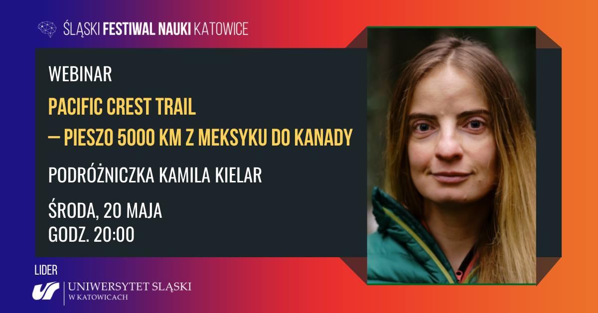 Grafika promująca spotkanie z Kamilą Kielar